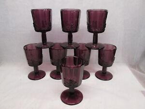 "Set 8 Fenton Glass Amethyst Purple Paneled Grape Water Wine Goblet 6"" LG Wright"