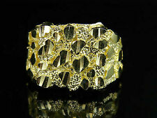 Real Men's 10k Yellow Gold Nugget Style Large Custom DESIGNER Fancy Ring