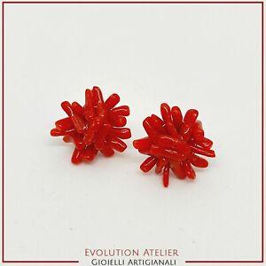 Ohrringe A Lappen IN Koralle Natürlich Und Silber 925, Verschluß Schmetterling