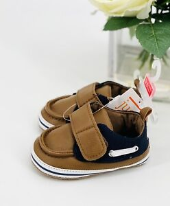 Carter's Baby Boy's Sailor Boat Shoes 3-6 Mos Brown Navy Crib Shoe / Booties NEW