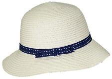 Tropic Hats Womens Cloche Sun Packable Cap W/Dotted Line Band & Bow #914 Beige