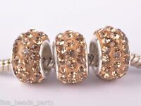 10pcs 12mm Rhinestone Silver Plated European Charm Loose Big Hole Beads Lt Gold