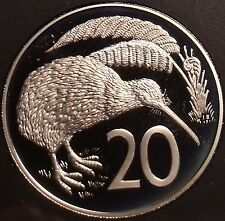 Rare Cameo Proof New Zealand 1985 20 Cents~12,000 Minted~Kiwi Bird~Free Shipping