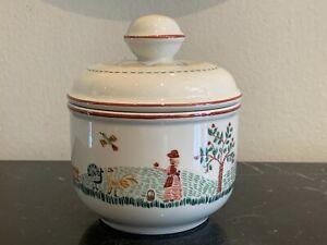 Vintage Villeroy & Boch First Impressions American Sampler Lidded Sugar Bowl