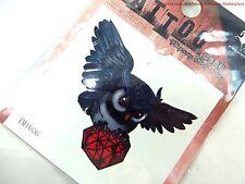 US SELLER- Temporary Tattoo  Removable Waterproof tattoo stiker  OWL JEWEL