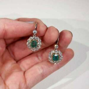 2.5Ct Art Deco Emerald & Diamond Cluster Women's Earrings 14k White Gold Finish