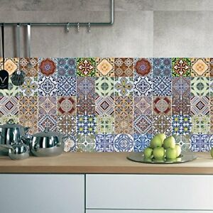 30 pcs Mexican Talavera Self Adhesive Tile Stickers Kitchen Backsplash Decor