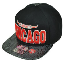 Chicago City Faux Snake Skin Leather Flat Bill Hat Cap Snapback Illinois Black