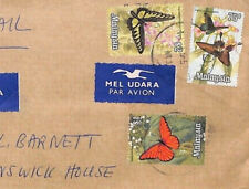BL345 Malaysia 1970s Kuala Lumpur HIGH RATE AIRMAIL Cover Note $2 BUTTERFLY
