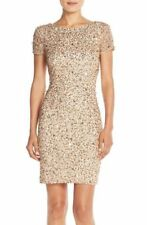 ADRIANNA PAPELL SEQUIN MESH CHAMPAGNE /GOLD SHEATH DRESS sz  4