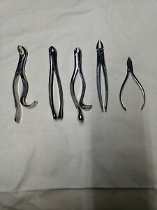 Vintage Dental Tools, Lot Of 5 Tooth Extraction