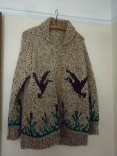 Vintage 1980s Handknit Shawl Collar Zip Cardi Jacket Flying Ducks Bullrushes - L