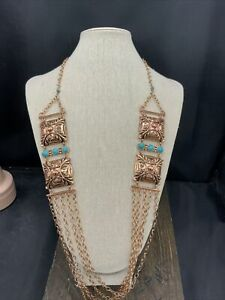 Barse Emblazon Necklace- Turquoise & Copper- New With Tags