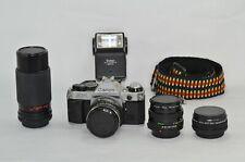 Canon AE-1 Program 35mm Film Manual Camera w/ 3 Lens, Tele Converter Auto Winder