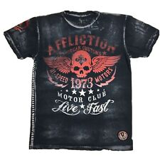 Affliction Shirt Mens Size XL Skull Wings Moto Club Distressed Flag Burnout Tee