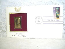 FIRST DAY ISSUE PRE-COLUMBIAN ARTIFACT AND GOLD STAMP FDC