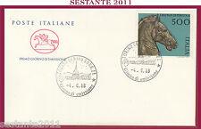 ITALIA FDC CAVALLINO 1988 BRONZI DI PERGOLA ANNULLO TORINO Z5
