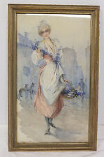Antique French Style Watercolor Painting of a Woman E. Mourin Italian Signed