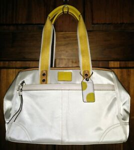 Coach White & Yellow Hampton Nylon Sateen Leather Weekend Tote Handbag F11993