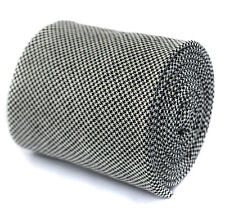 Frederick Thomas Designer Cotton Mens Tie - Black & White - Houndstooth Wedding