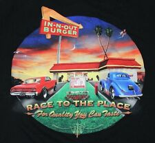 In-N-Out Burger California Black T Shirt Classic Cars Diner L Large Cotton