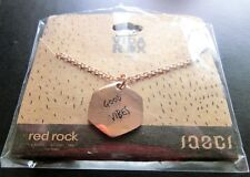 "Jaeci® 14K Rose Gold 30"" Adj Chain Charm Necklace ""Good Vibes / Shades"" Red Rock"