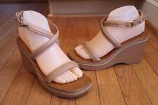 Ralph Lauren Leather Solid Platforms Wedges Women's Sandals & Flip Flops
