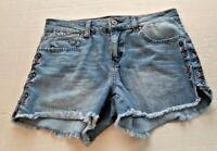 Harper Women's Cutoff Jean Shorts Size 28 Embroidered Sides Ragged Hem Short