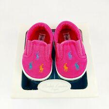 Baby Girl Ralph Lauren Designer Pink Multi Pony Pram Crib Shoes UK 1.5 / EU 17