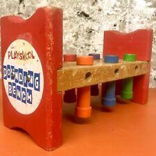 Vintage Wood Toy 70s Playskool Nok-out Wooden Pounding Bench Pegs. No Hammer