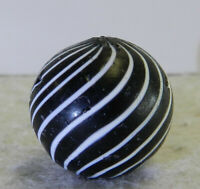 #12679m .79 Inches Vintage German Handmade Black Clambroth Marble
