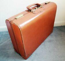 Large Vintage Art Deco Style Tan Leather Suitcase Brass Clasps TOP GRAIN COWHIDE