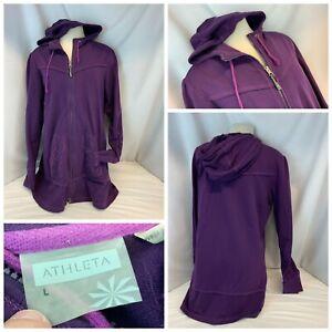 Athleta Tunic Hoodie Jacket Sz 10 Purple Full Zip Floral Cotton Modal YGI B1-474