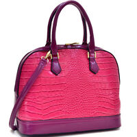 New Dasein Women Faux Croco Leather Satchel Tote Shoulder Bag Top Handle Purse