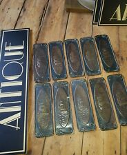 antique old Vintage copper tin ship boat door finger plates registration number
