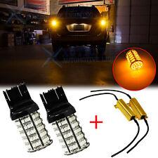 2x 7440 7441 LED Rear Turn Signal Light Bulb Bright 3000K Amber w/Load Resistors