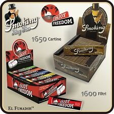 1650 Cartine SMOKING BROWN SLIM LUNGHE + FILTRI CARTA ENJOY FREEDOM 50 Libretti