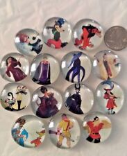 HUGE LOT of 14 DISNEY VILLAINS Glass Magnets Office Refrigerator Bubble Magnets
