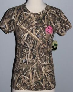 New Ladies MOSSY OAK Shadow Grass Blades Shirt Womens S or XL Camo Hunting Top