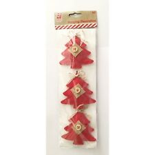 3 x Feltro Vintage Christmas tree bauble Appeso Decorazioni Ornamenti