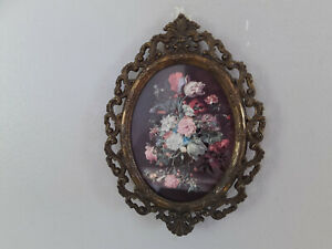 Small Wall Hanging Victorian Style Frame Flower Picture