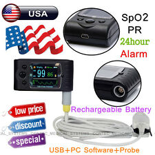 Finger Pulse Oximeter 24h Sleep Blood Oxygen Heart Rate Monitor SpO2 PR Alarm+SW