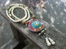 Boho Vintage style Handmade Amulet Buddhist White Yak bone Tibetan necklace Gift