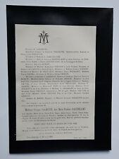 ROCHETTE Barthelemy FAIRE PART Pecuchet VAUTIER Bayvel PETIT QUEVILLY 1896