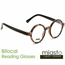 ~LOT OF 2~ MIASTO ROUND LENNON/ POTTER READER READING GLASSES+2.50 BIFOCAL BROWN
