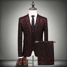 Mens Printed 3PCS Suit Slim Fit One Button Lapel Wedding Dress Formal Blazer New