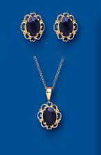 Sapphire Set Yellow Gold Pendant and Earrings Solitaire Stud