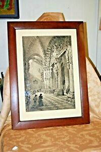 Axel Haig 1905 Limited Edition Portico del Gloria Signed Etching in Oak Frame