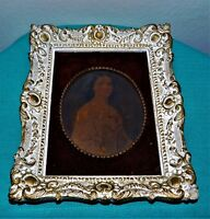 """Vintage 7"""" X 9""""  White Gold Gesso Rococo style Frame Red Felt Board Lady"""