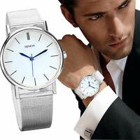 Elegante Herrenuhr Quarz Großartige Ziffernblatt Armband Metall Neu Angebot